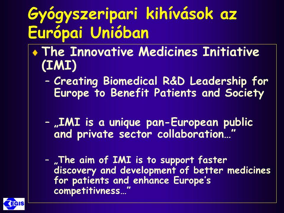 Gyógyszeripari kihívások az Európai Unióban  The Innovative Medicines Initiative (IMI) –Creating Biomedical R&D Leadership for Europe to Benefit Pati