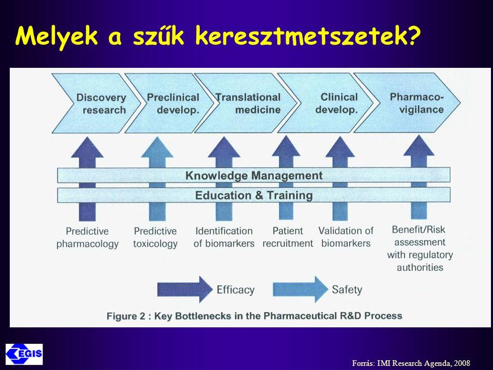 Stratégiai területek az európai gyógyszeripari K+F megerősítésére ('Four Pillars') az IMI szerint  Gyógyszerbiztonságosság előrejelzése  Gyógyszerhatékonyság előrejelzése  Tudás management  Oktatás, képzés, tréning