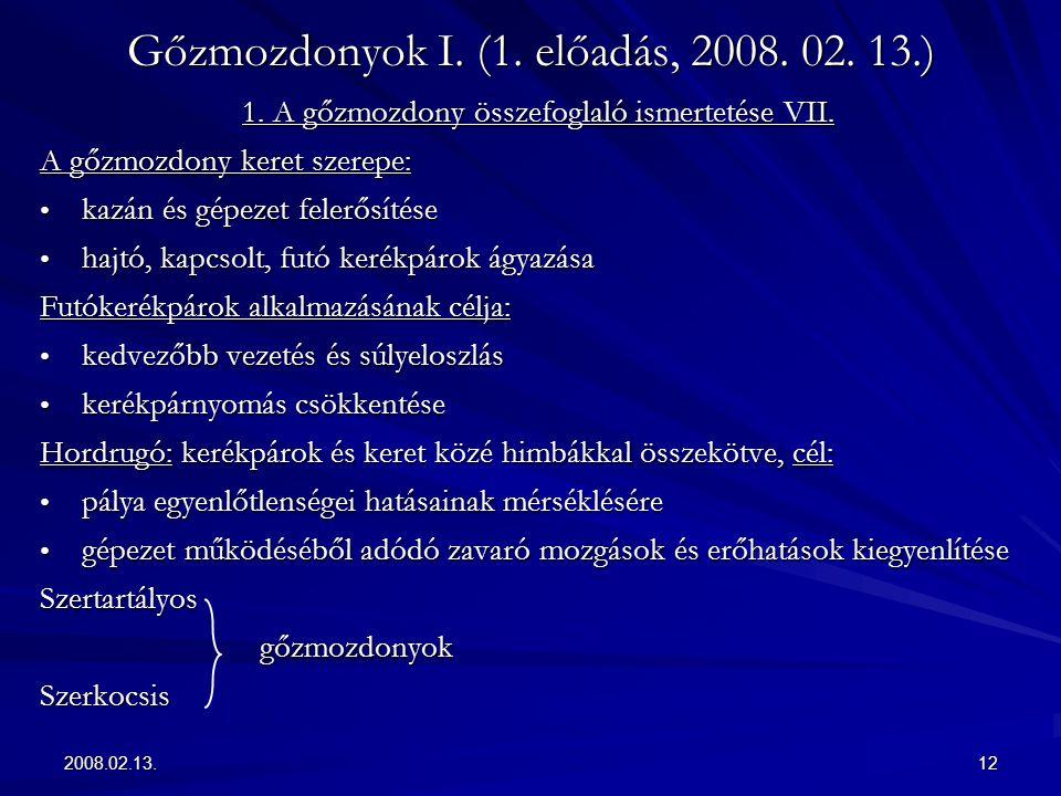 2008.02.13.12 Gőzmozdonyok I. (1. előadás, 2008. 02. 13.) 1. A gőzmozdony összefoglaló ismertetése VII. A gőzmozdony keret szerepe: kazán és gépezet f