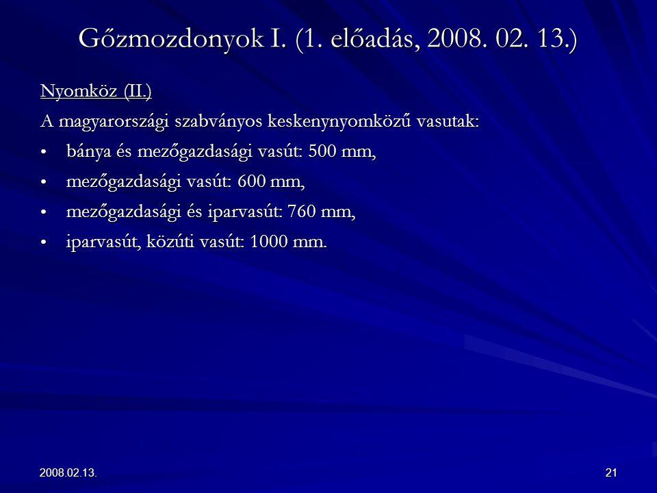 2008.02.13.21 Gőzmozdonyok I. (1. előadás, 2008. 02. 13.) Nyomköz (II.) A magyarországi szabványos keskenynyomközű vasutak: bánya és mezőgazdasági vas