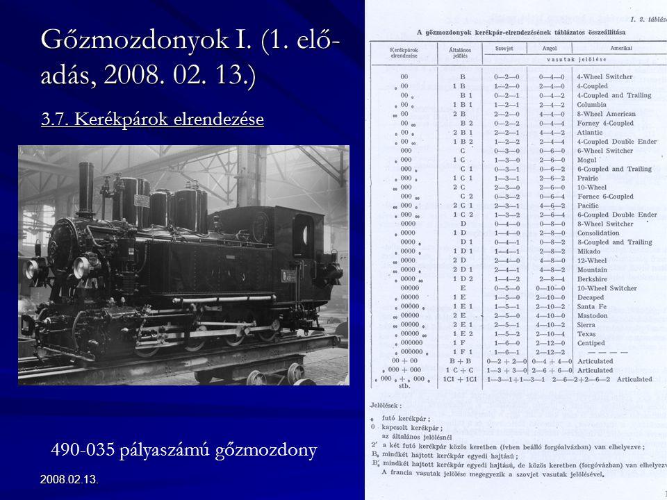 2008.02.13.27 Gőzmozdonyok I. (1. elő- adás, 2008. 02. 13.) 3.7. Kerékpárok elrendezése 490-035 pályaszámú gőzmozdony