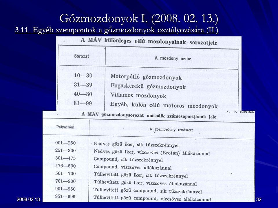 2008.02.13.32 Gőzmozdonyok I. (2008. 02. 13.) 3.11. Egyéb szempontok a gőzmozdonyok osztályozására (II.)