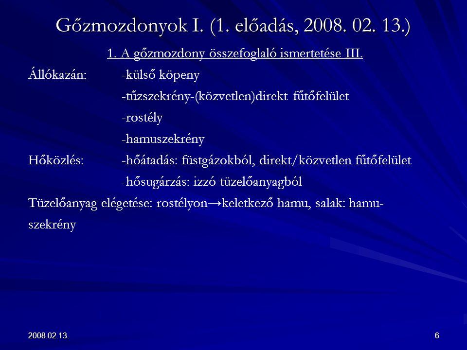 2008.02.13.6 Gőzmozdonyok I. (1. előadás, 2008. 02. 13.) 1. A gőzmozdony összefoglaló ismertetése III. Állókazán:-külső köpeny -tűzszekrény-(közvetlen