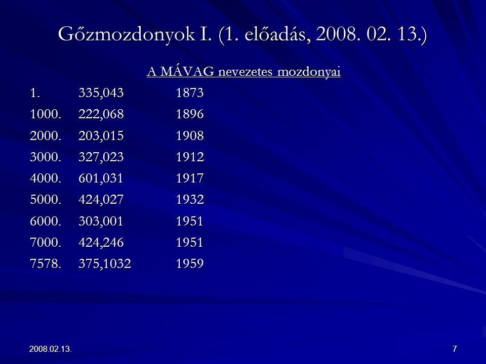 2008.02.13.7 Gőzmozdonyok I. (1. előadás, 2008. 02. 13.) A MÁVAG nevezetes mozdonyai 1.335,0431873 1000.222,0681896 2000.203,0151908 3000.327,0231912