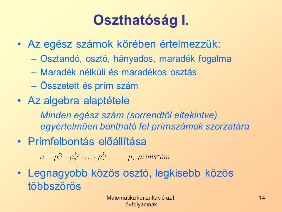 Matematika konzultáció az I. évfolyamnak 14 Oszthatóság I. Az egész számok körében értelmezzük: –Osztandó, osztó, hányados, maradék fogalma –Maradék n