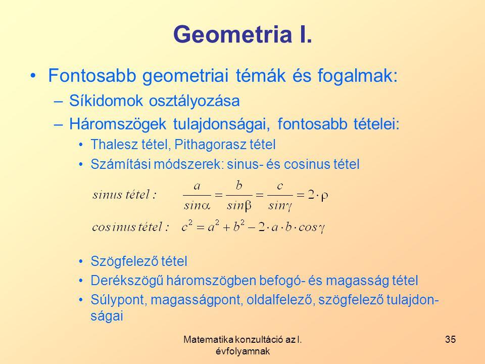 Matematika konzultáció az I. évfolyamnak 35 Geometria I. Fontosabb geometriai témák és fogalmak: –Síkidomok osztályozása –Háromszögek tulajdonságai, f