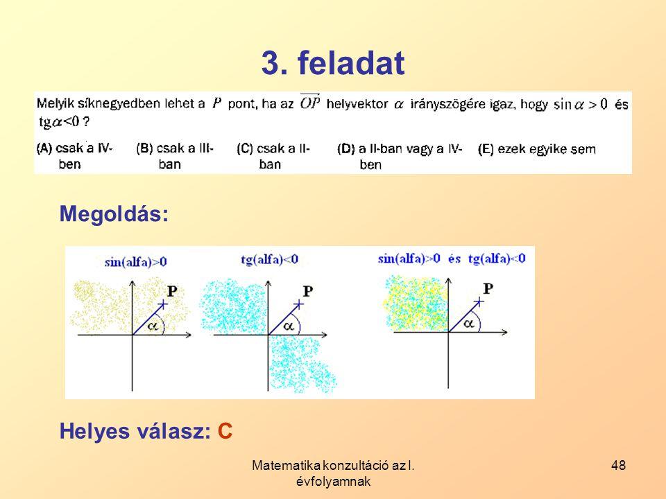 Matematika konzultáció az I. évfolyamnak 48 3. feladat Megoldás: Helyes válasz: C