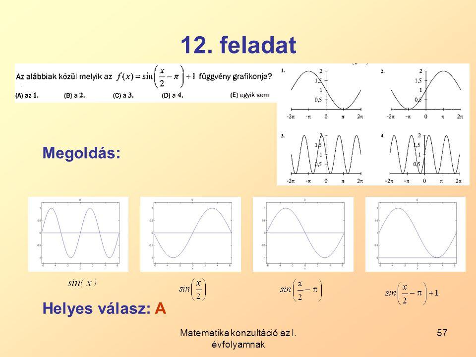 Matematika konzultáció az I. évfolyamnak 57 12. feladat Megoldás: Helyes válasz: A