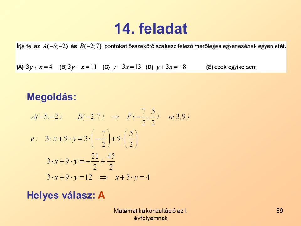 Matematika konzultáció az I. évfolyamnak 59 14. feladat Megoldás: Helyes válasz: A