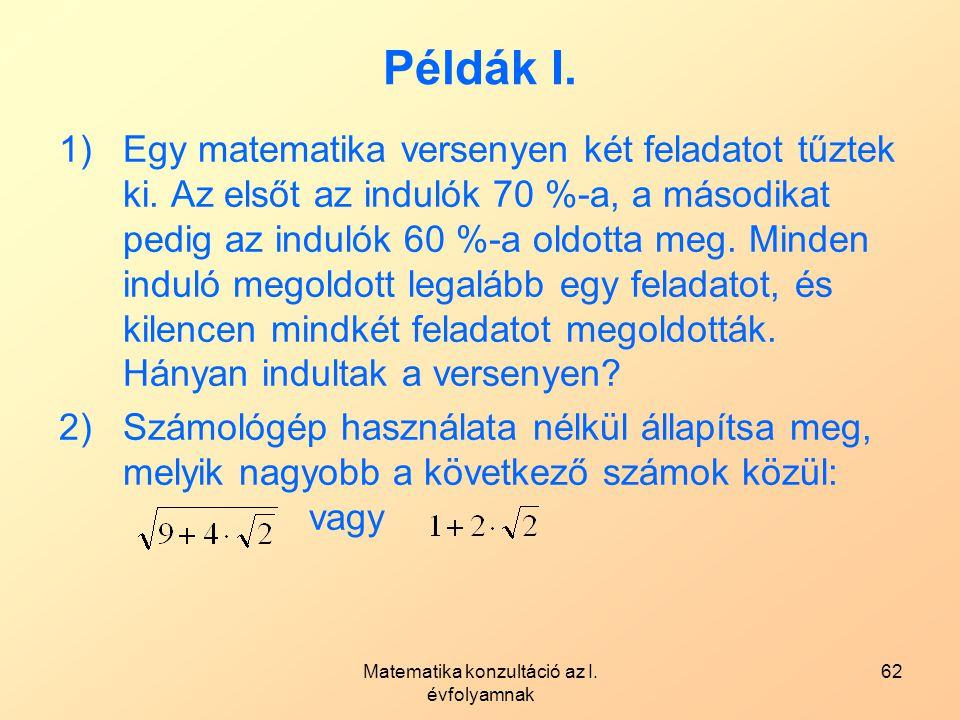Matematika konzultáció az I. évfolyamnak 62 Példák I. 1)Egy matematika versenyen két feladatot tűztek ki. Az elsőt az indulók 70 %-a, a másodikat pedi