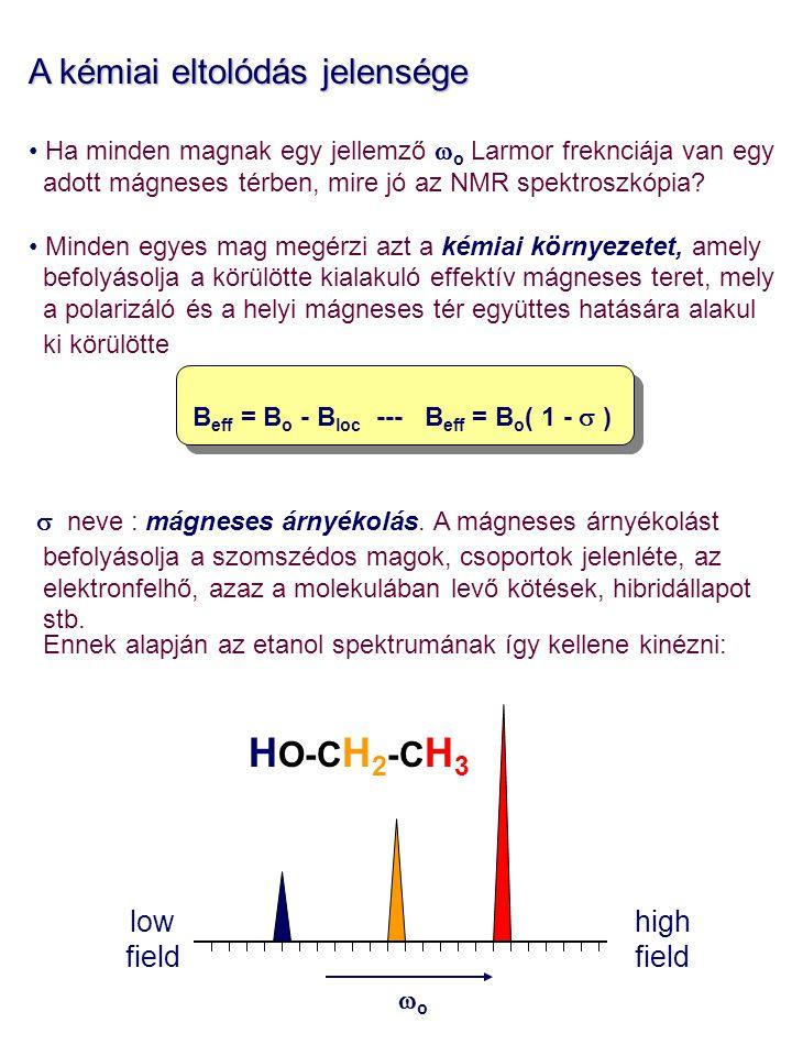 A kémiai eltolódás jelensége Ha minden magnak egy jellemző  o Larmor freknciája van egy adott mágneses térben, mire jó az NMR spektroszkópia? Minden