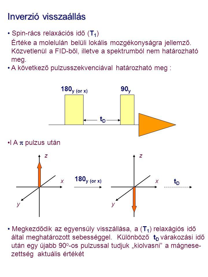 Inverzió visszaállás Spin-rács relaxációs idő (T 1 ) Értéke a molelulán belüli lokális mozgékonyságra jellemző. Közvetlenül a FID-ből, illetve a spekt