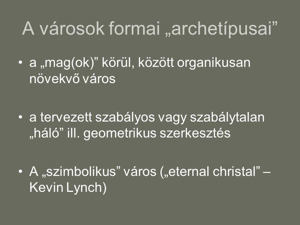 """A városok formai """"archetípusai a """"mag(ok) körül, között organikusan növekvő város a tervezett szabályos vagy szabálytalan """"háló ill."""