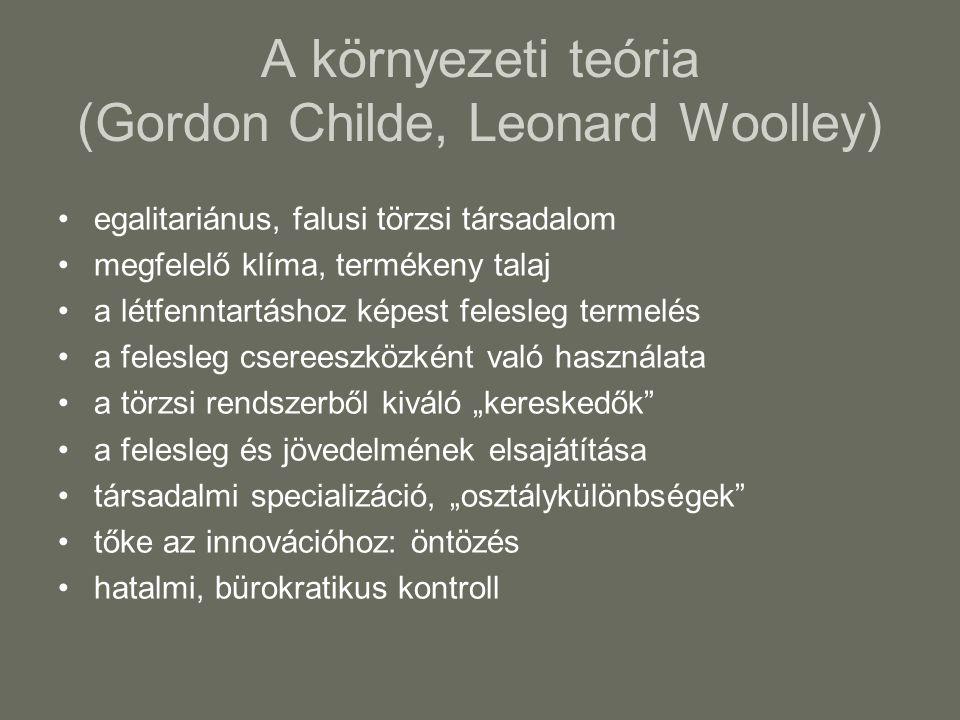 """A környezeti teória (Gordon Childe, Leonard Woolley) egalitariánus, falusi törzsi társadalom megfelelő klíma, termékeny talaj a létfenntartáshoz képest felesleg termelés a felesleg csereeszközként való használata a törzsi rendszerből kiváló """"kereskedők a felesleg és jövedelmének elsajátítása társadalmi specializáció, """"osztálykülönbségek tőke az innovációhoz: öntözés hatalmi, bürokratikus kontroll"""