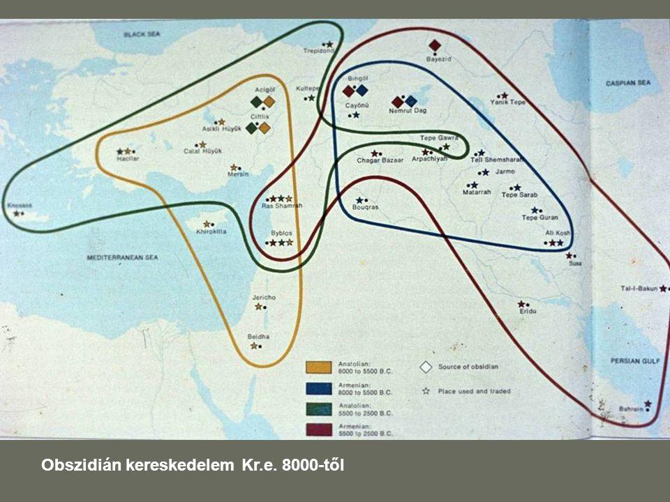 Obszidián kereskedelem Kr.e. 8000-től