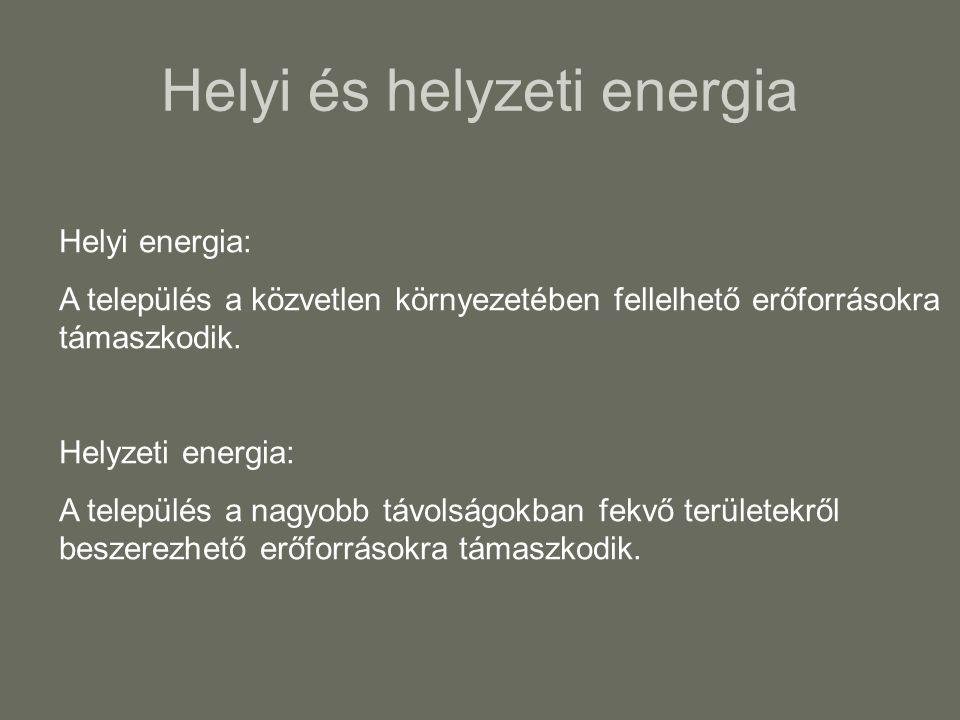 Helyi és helyzeti energia Helyi energia: A település a közvetlen környezetében fellelhető erőforrásokra támaszkodik.