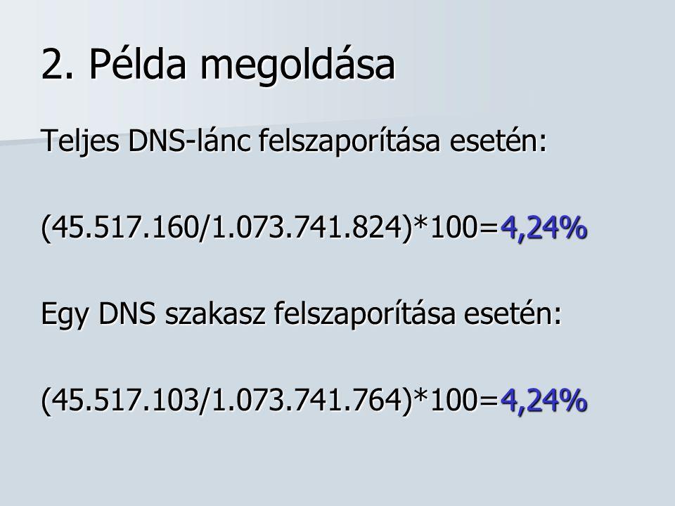 2. Példa megoldása Teljes DNS-lánc felszaporítása esetén: (45.517.160/1.073.741.824)*100=4,24% Egy DNS szakasz felszaporítása esetén: (45.517.103/1.07