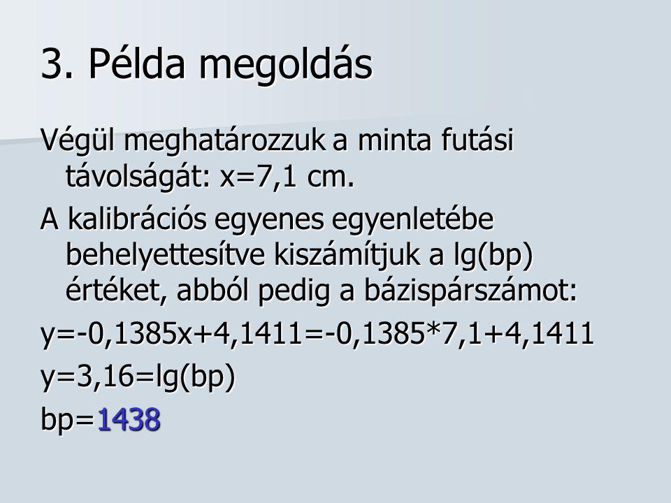 3. Példa megoldás Végül meghatározzuk a minta futási távolságát: x=7,1 cm. A kalibrációs egyenes egyenletébe behelyettesítve kiszámítjuk a lg(bp) érté