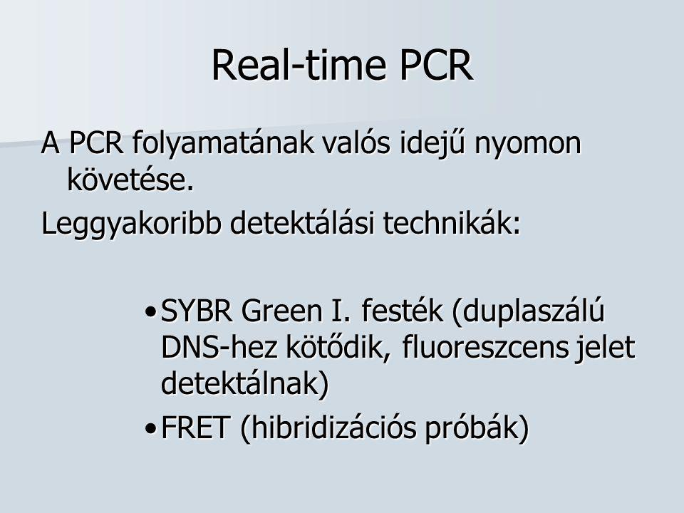 Real-time PCR A PCR folyamatának valós idejű nyomon követése. Leggyakoribb detektálási technikák: SYBR Green I. festék (duplaszálú DNS-hez kötődik, fl