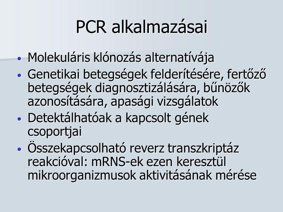 PCR alkalmazásai Molekuláris klónozás alternatívája Molekuláris klónozás alternatívája Genetikai betegségek felderítésére, fertőző betegségek diagnosztizálására, bűnözők azonosítására, apasági vizsgálatok Genetikai betegségek felderítésére, fertőző betegségek diagnosztizálására, bűnözők azonosítására, apasági vizsgálatok Detektálhatóak a kapcsolt gének csoportjai Detektálhatóak a kapcsolt gének csoportjai Összekapcsolható reverz transzkriptáz reakcióval: mRNS-ek ezen keresztül mikroorganizmusok aktivitásának mérése Összekapcsolható reverz transzkriptáz reakcióval: mRNS-ek ezen keresztül mikroorganizmusok aktivitásának mérése