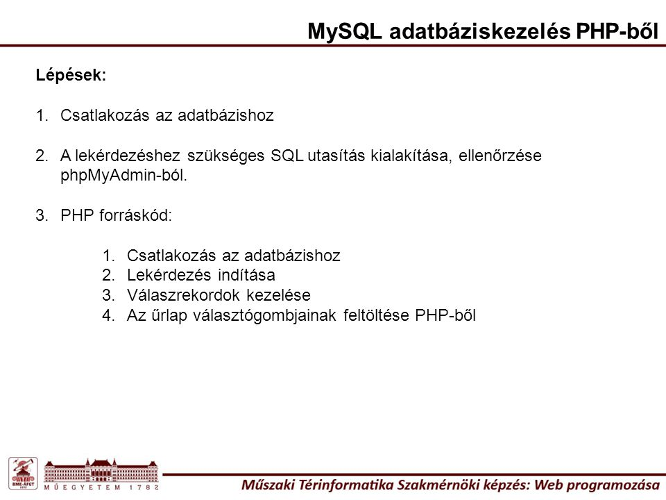 <?php $username= root ; $password= ujjelszo ; $hostname= localhost ; $dbkapcsolodas=mysql_connect($hostname, $username, $password) or die ( Nem tudok csatlakozni a MySQL adatbázishoz ); $adatbazis=mysql_select_db( naptar ,$dbkapcsolodas) or die ( Nem tudom kiválasztani a naptar adatbázist ); $lekerdez = mysql_query( SET CHARACTER SET latin2 ); $lekerdez = mysql_query( SET NAMES latin2 ); $lekerdez = mysql_query( SELECT * FROM tipus ORDER BY LEIRAS ASC ); while ($rekordok = mysql_fetch_array($lekerdez, MYSQL_ASSOC)) { echo ; echo <input type=\ radio\ name=\ Tipus\ value=\ .$rekordok{ ID }.