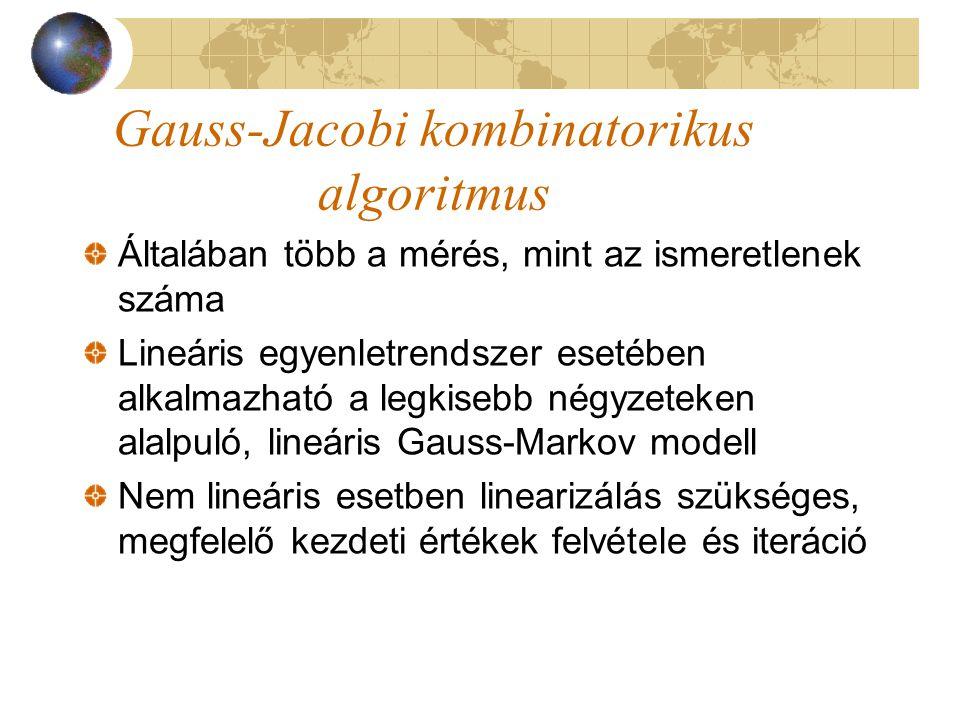 Gauss-Jacobi kombinatorikus algoritmus Általában több a mérés, mint az ismeretlenek száma Lineáris egyenletrendszer esetében alkalmazható a legkisebb