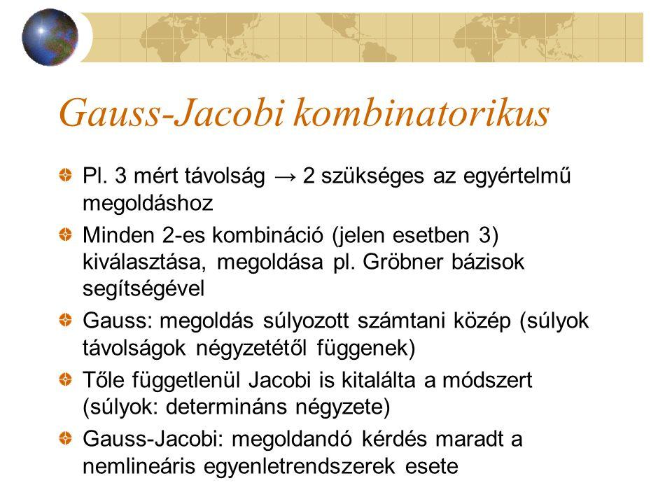 Gauss-Jacobi kombinatorikus Pl. 3 mért távolság → 2 szükséges az egyértelmű megoldáshoz Minden 2-es kombináció (jelen esetben 3) kiválasztása, megoldá