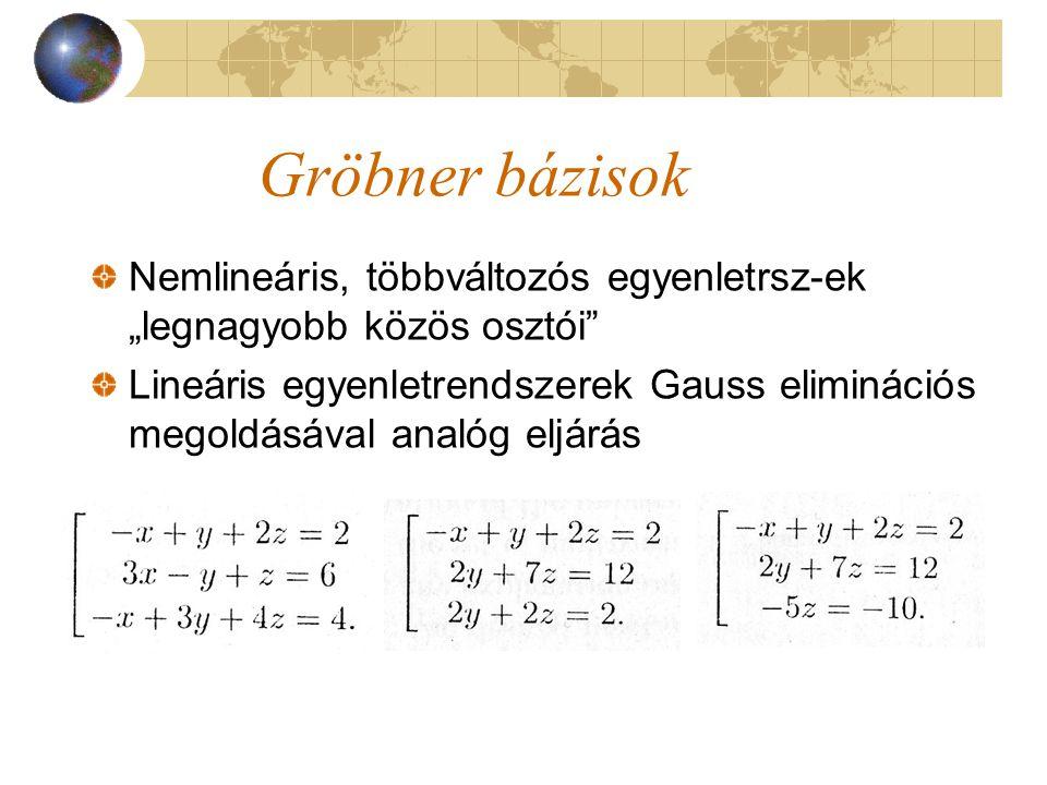 """Gröbner bázisok Nemlineáris, többváltozós egyenletrsz-ek """"legnagyobb közös osztói"""" Lineáris egyenletrendszerek Gauss eliminációs megoldásával analóg e"""