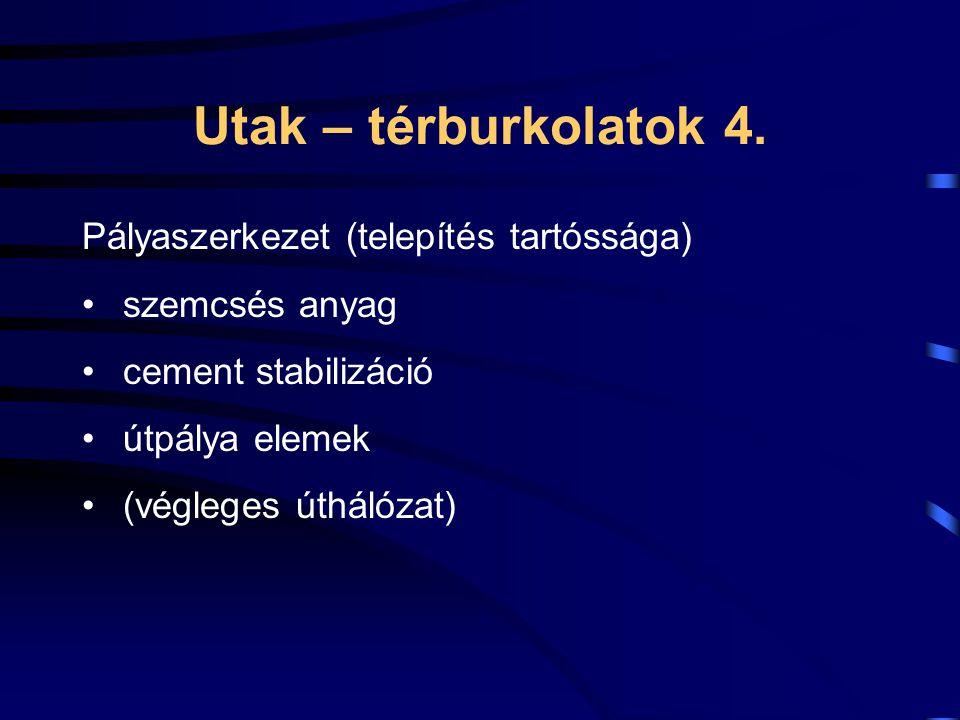 Utak – térburkolatok 4. Pályaszerkezet (telepítés tartóssága) szemcsés anyag cement stabilizáció útpálya elemek (végleges úthálózat)