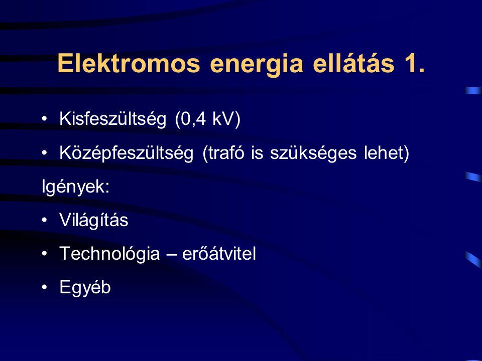 Elektromos energia ellátás 1. Kisfeszültség (0,4 kV) Középfeszültség (trafó is szükséges lehet) Igények: Világítás Technológia – erőátvitel Egyéb