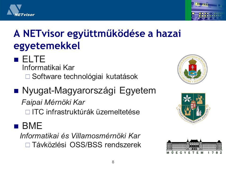 8 A NETvisor együttműködése a hazai egyetemekkel ELTE Informatikai Kar  Software technológiai kutatások Nyugat-Magyarországi Egyetem Faipai Mérnöki Kar  ITC infrastruktúrák üzemeltetése BME Informatikai és Villamosmérnöki Kar  Távközlési OSS/BSS rendszerek