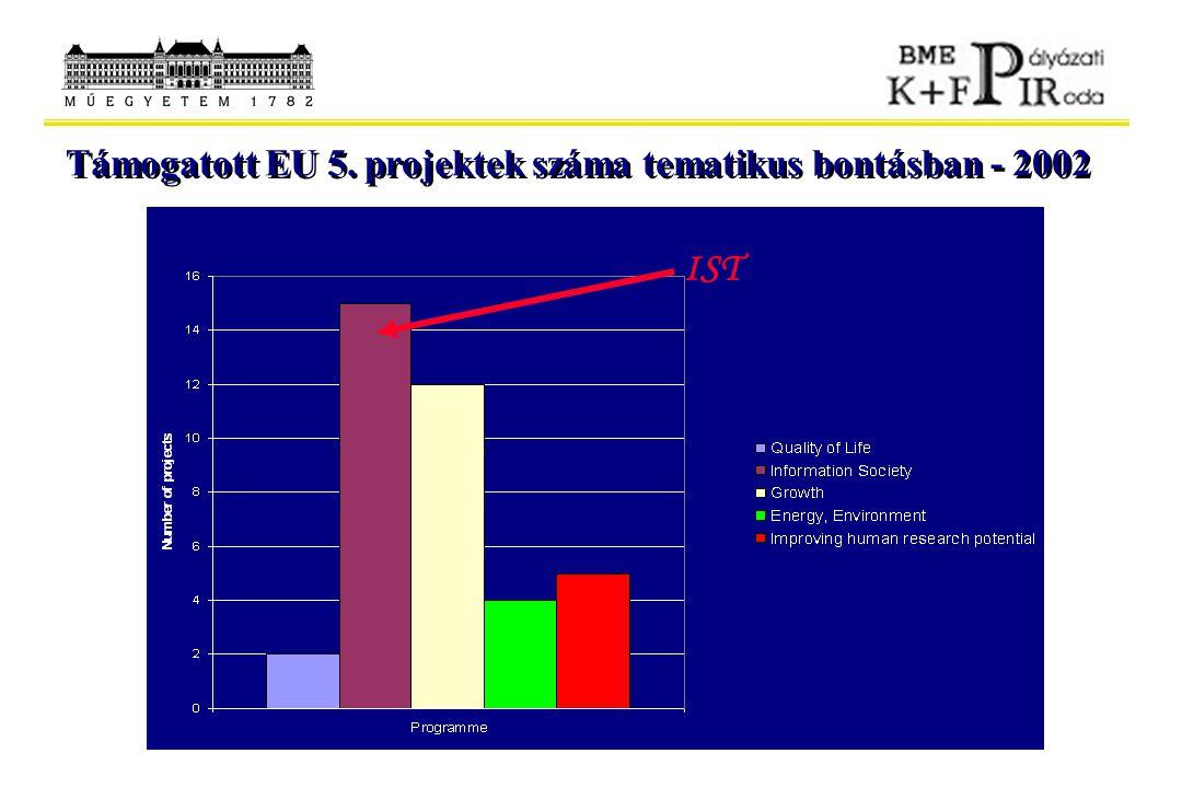 Támogatott EU 5. projektek száma tematikus bontásban - 2002 IST