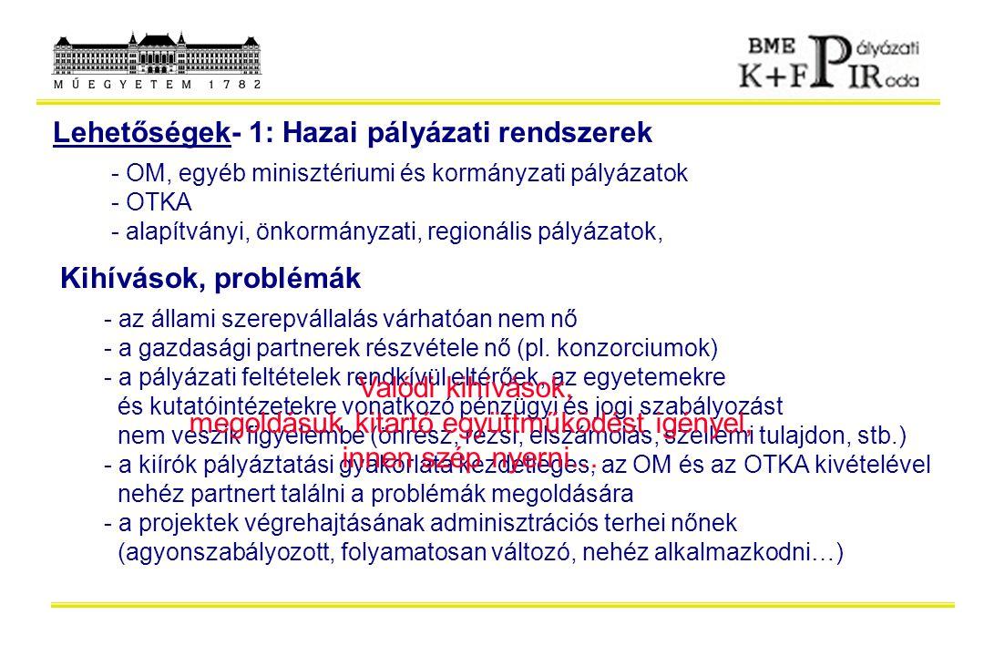 Lehetőségek- 1: Hazai pályázati rendszerek - OM, egyéb minisztériumi és kormányzati pályázatok - OTKA - alapítványi, önkormányzati, regionális pályáza