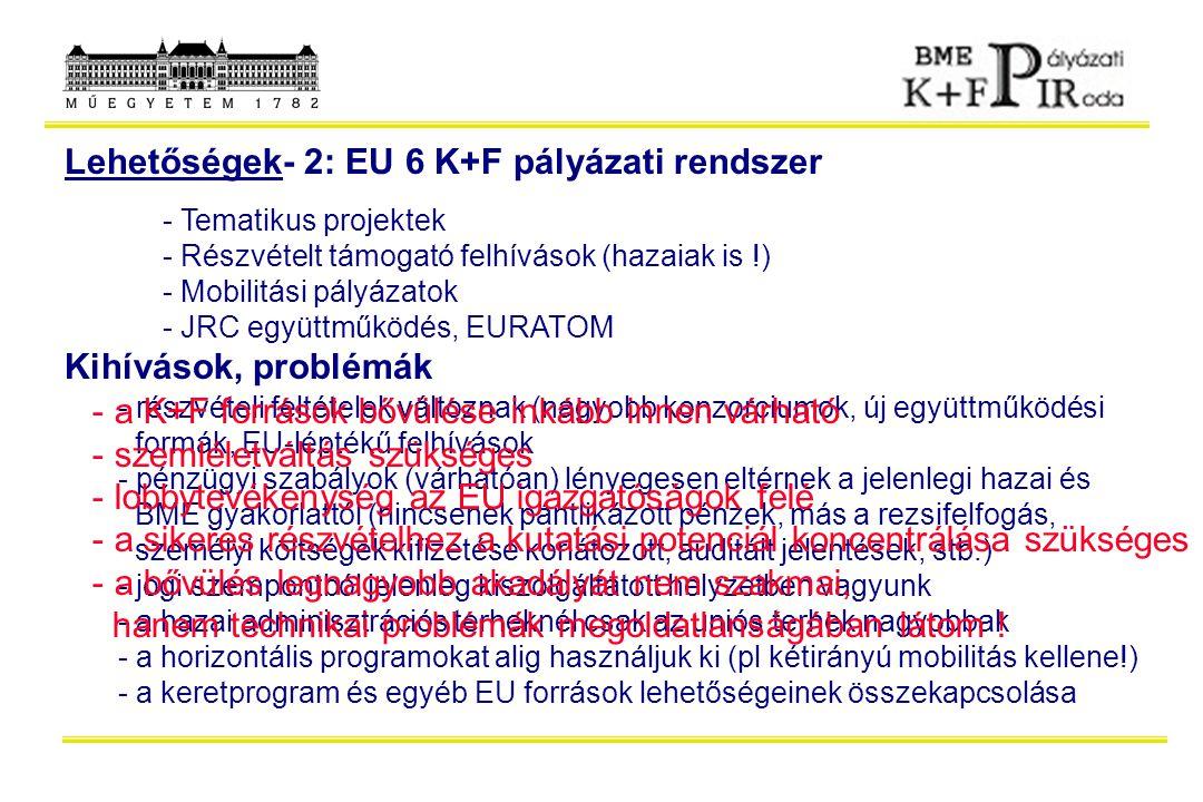 Lehetőségek- 2: EU 6 K+F pályázati rendszer - Tematikus projektek - Részvételt támogató felhívások (hazaiak is !) - Mobilitási pályázatok - JRC együtt
