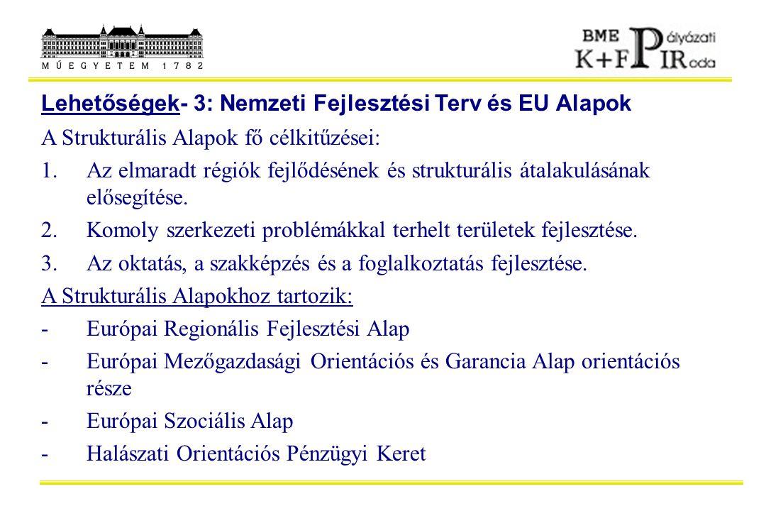 Lehetőségek- 3: Nemzeti Fejlesztési Terv és EU Alapok A Strukturális Alapok fő célkitűzései: 1.Az elmaradt régiók fejlődésének és strukturális átalaku
