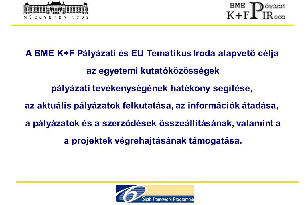 A BME K+F Pályázati és EU Tematikus Iroda alapvető célja az egyetemi kutatóközösségek pályázati tevékenységének hatékony segítése, az aktuális pályáza