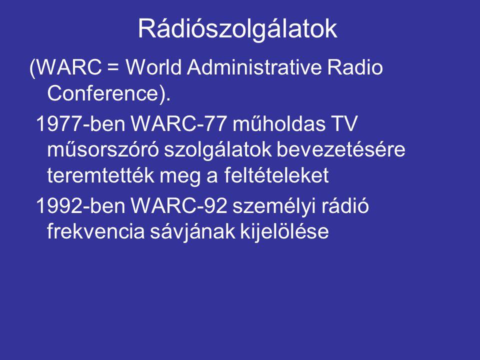 Rádiószolgálatok (WARC = World Administrative Radio Conference).