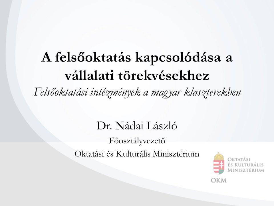A felsőoktatás kapcsolódása a vállalati törekvésekhez Felsőoktatási intézmények a magyar klaszterekben Dr.