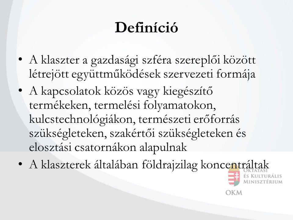 Definíció A klaszter a gazdasági szféra szereplői között létrejött együttműködések szervezeti formája A kapcsolatok közös vagy kiegészítő termékeken, termelési folyamatokon, kulcstechnológiákon, természeti erőforrás szükségleteken, szakértői szükségleteken és elosztási csatornákon alapulnak A klaszterek általában földrajzilag koncentráltak