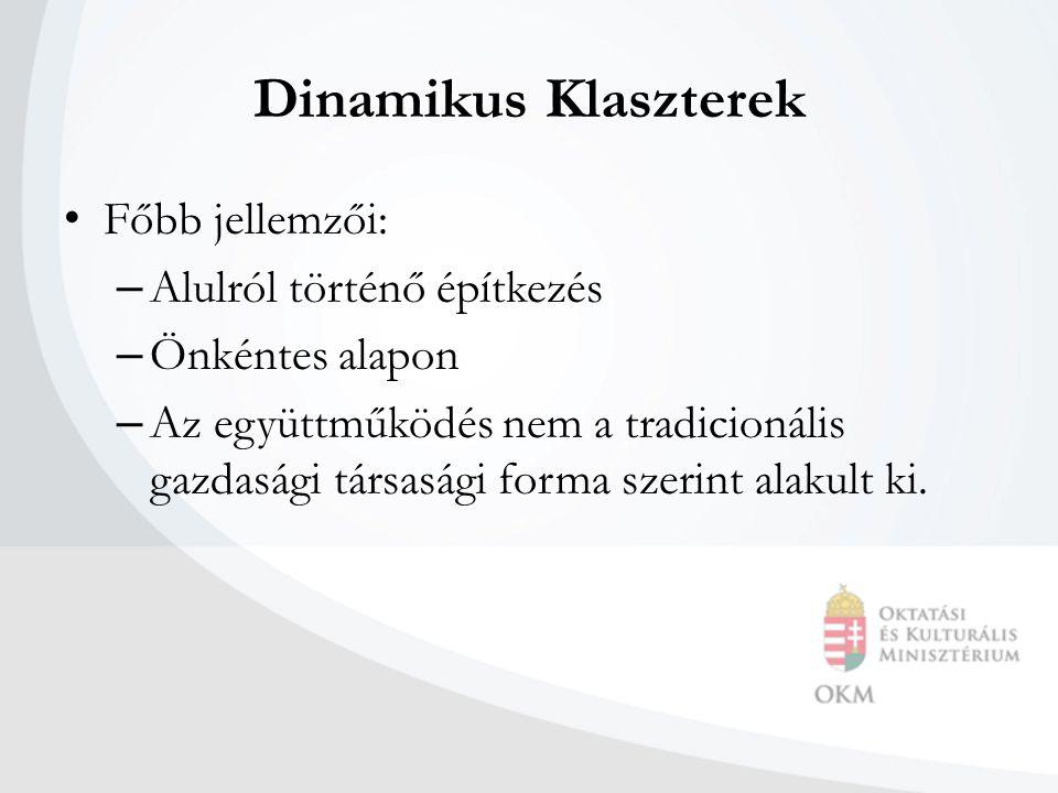 Dinamikus Klaszterek Főbb jellemzői: – Alulról történő építkezés – Önkéntes alapon – Az együttműködés nem a tradicionális gazdasági társasági forma szerint alakult ki.