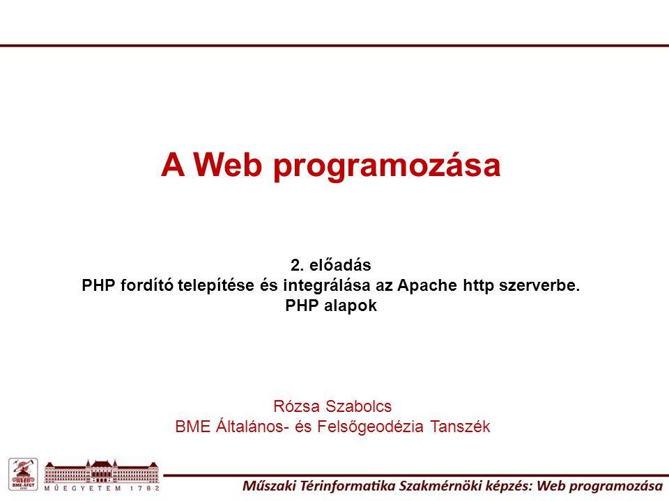 Egy kis ismétles: 8 alapváltozó: boolean (logikai) integer (egész szám) float (lebegőpontos /double/) string (karakterlánc) Összetett típusok: array (tömb) object (objektum) Két speciális típus: resource (erőforrás) NULL PHP változótípusok A PHP a változó típusát automatikusan eldönti.