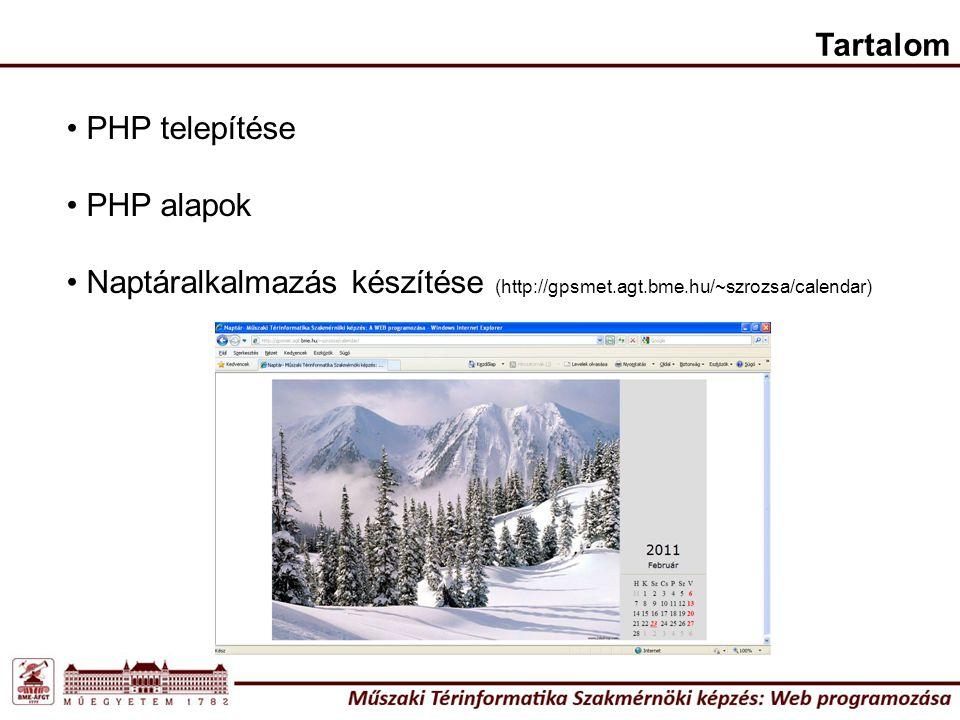 Tervezzük meg a kódot! http://localhost/calendar/calendar.php