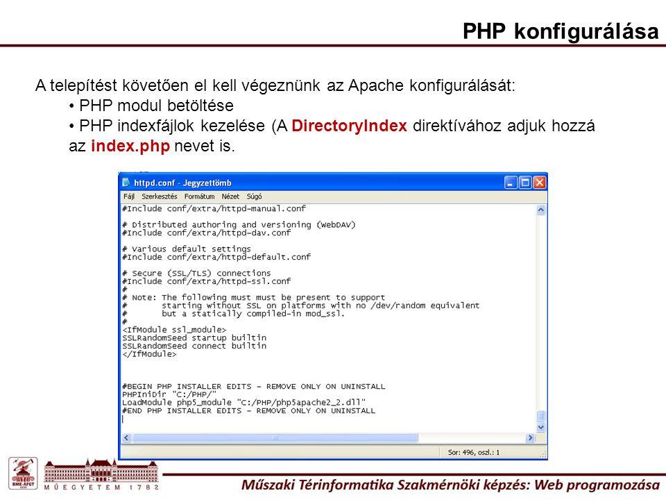 PHP konfigurálása A telepítést követően el kell végeznünk az Apache konfigurálását: PHP modul betöltése PHP indexfájlok kezelése (A DirectoryIndex direktívához adjuk hozzá az index.php nevet is.