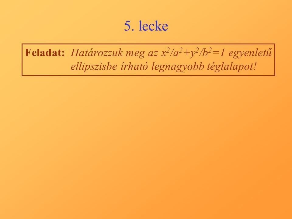 5. lecke Feladat:Határozzuk meg az x 2 /a 2 +y 2 /b 2 =1 egyenletű ellipszisbe írható legnagyobb téglalapot!