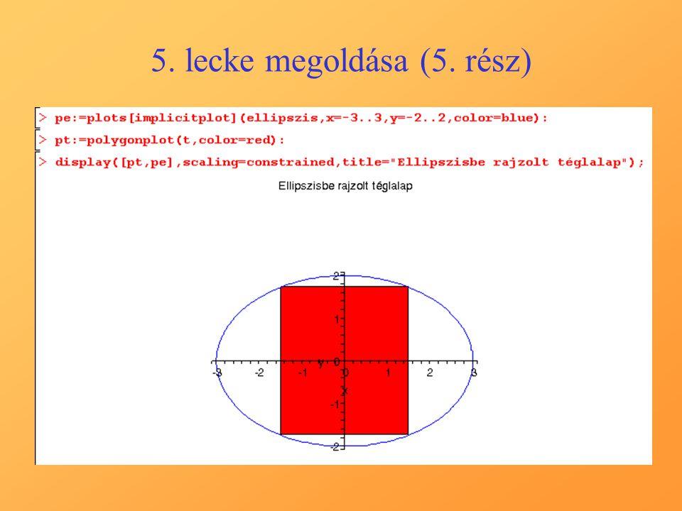 5. lecke megoldása (5. rész)