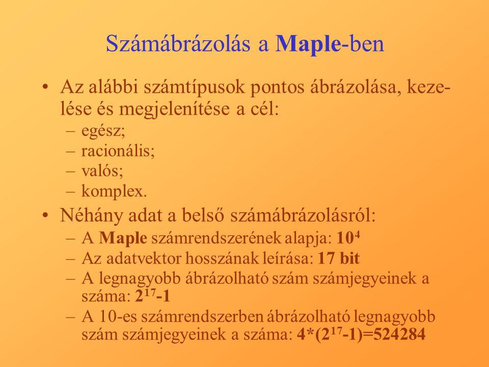 Számábrázolás a Maple-ben Az alábbi számtípusok pontos ábrázolása, keze- lése és megjelenítése a cél: –egész; –racionális; –valós; –komplex.