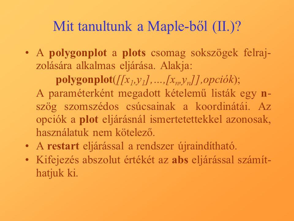 Mit tanultunk a Maple-ből (II.)? A polygonplot a plots csomag sokszögek felraj- zolására alkalmas eljárása. Alakja: polygonplot([[x 1,y 1 ],…,[x n,y n