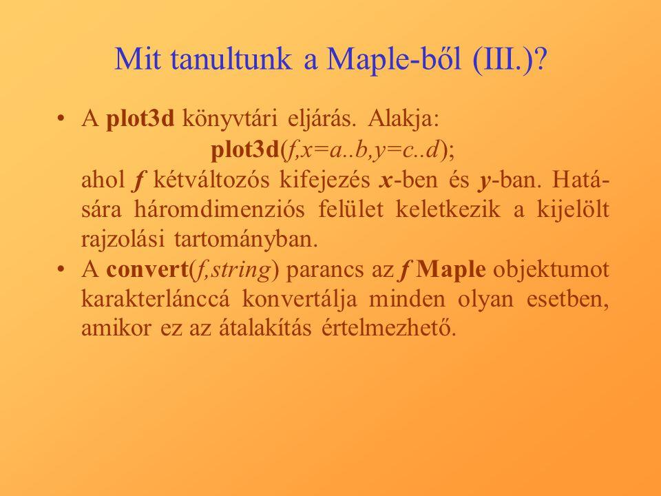 Mit tanultunk a Maple-ből (III.). A plot3d könyvtári eljárás.