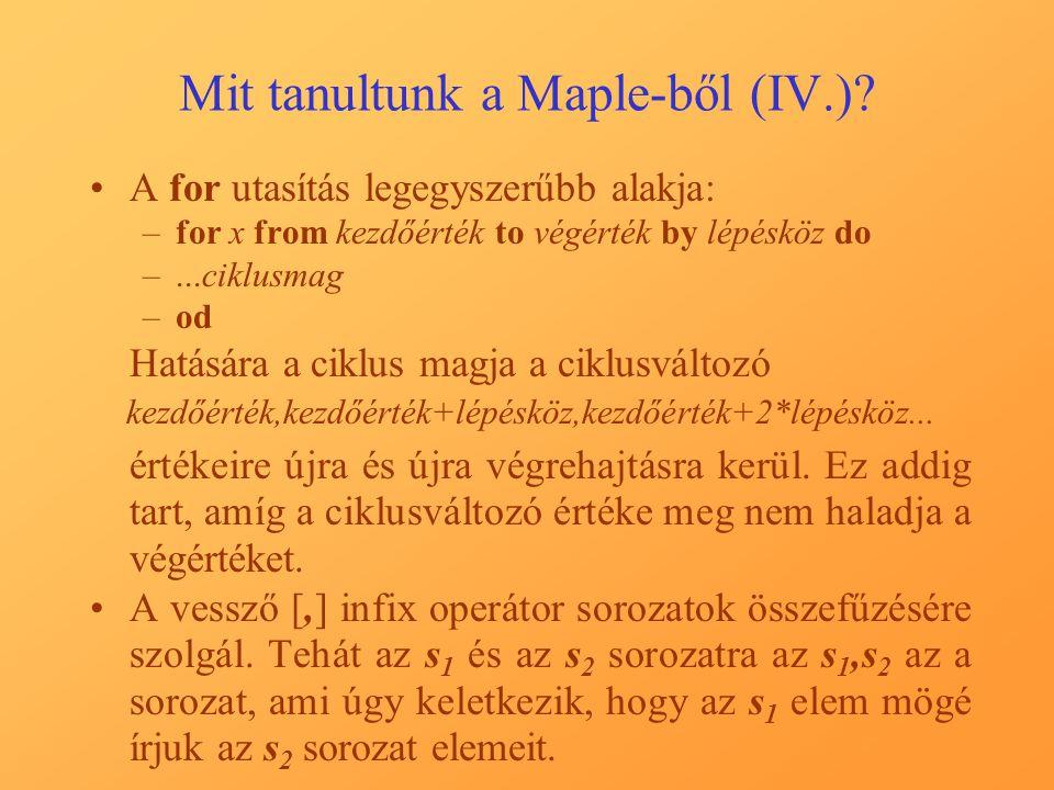 Mit tanultunk a Maple-ből (IV.).