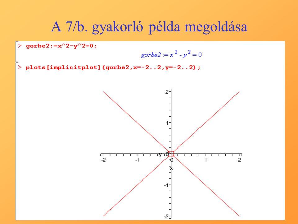 A 7/b. gyakorló példa megoldása